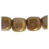 Glass Bead 7X8mm Cube Brown Marble Strung